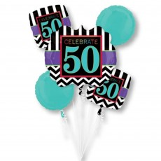 50th Birthday Celebration Bouquet Foil Balloons Pack of 5
