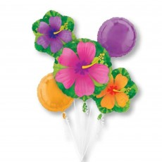 Hawaiian Luau Tropical Hibiscus Bouquet Foil Balloons