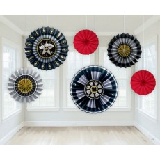 Hollywood Paper Fans Hanging Decorations Pack of 6