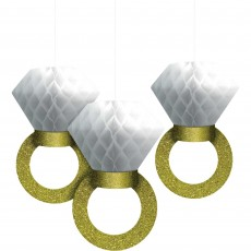 Gold Glittered Wedding Sparkle Honeycomb Hanging Decorations 30cm Pack of 3