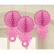 Baby Shower - General Pink Honeycomb Glittered Rattles Hanging Decorations