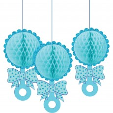Baby Shower - General Blue Honeycomb Glittered Rattles Hanging Decorations