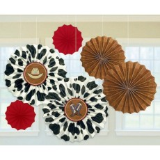 Cowboy & Western Paper Fan Hanging Decorations Pack of 6