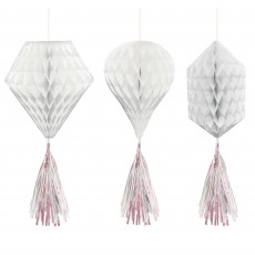 Iridescent White & Mini Honeycomb Hanging Decorations