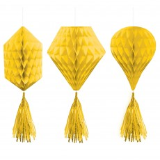 Yellow Sunshine Mini Honeycomb Hanging Decorations