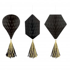 Black Jet Mini Honeycomb Hanging Decorations