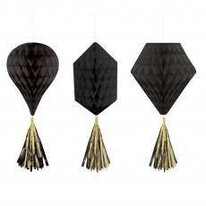 Black Party Decorations - Hanging Decorations Mini Honeycomb Jet Black