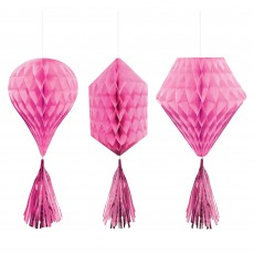 Pink Bright Mini Honeycomb Hanging Decorations