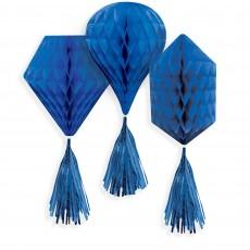 Blue Party Decorations - Hanging Decorations Mini Honeycomb Royal Blue