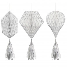 Silver & White Mini Honeycomb Hanging Decorations