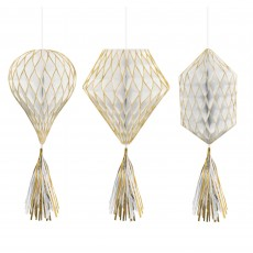 Gold & White Mini Honeycomb Hanging Decorations