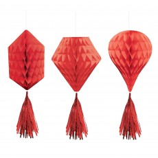 Red Apple Mini Honeycomb Hanging Decorations