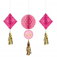 Baby Shower - General Girl Honeycomb Hanging Decorations Pack of 3