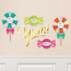 Sweets & Treats Party Decorations - Decorating Kits Honeycomb & Fans