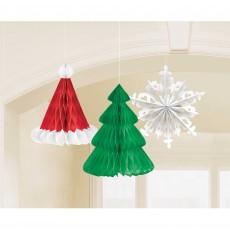 Christmas Tree, Hat & Snowflake Honeycomb Hanging Decorations