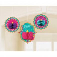 Diwali Honeycomb Hanging Decorations Pack of 3