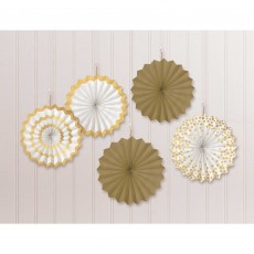 White Mini Paper Fans Hanging Decorations