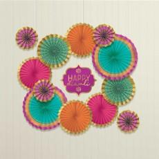 Diwali Party Decorations - Hanging Decorations Paper Fans