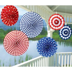 USA Patriotic Summer Paper Fan Hanging Decorations Pack of 6