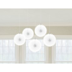 Frosty White Mini Fan Hanging Decorations 15cm Pack of 5