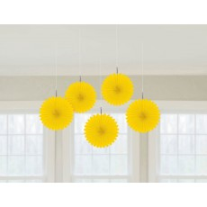 Yellow Mini Fan Hanging Decorations