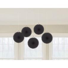 Black Mini Fan Hanging Decorations 15cm Pack of 5