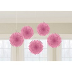 Bright Pink Mini Fan Hanging Decorations 15cm Pack of 5