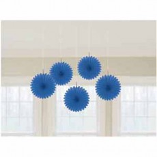 Bright Royal Blue Mini Fan Hanging Decorations 15cm Pack of 5
