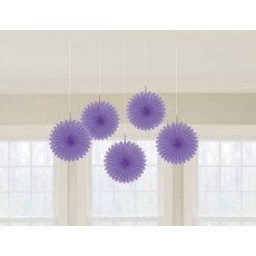 New Purple Mini Fan Hanging Decorations 15cm Pack of 5