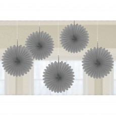 Silver Mini Fan Hanging Decorations 15cm Pack of 5