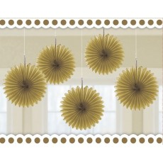 Gold Mini Fan Hanging Decorations 15cm Pack of 5