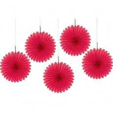 Apple Red Mini Fan Hanging Decorations 15cm Pack of 5