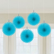 Blue Caribbean Mini Fans Hanging Decorations