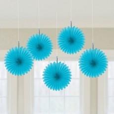 Caribbean Blue Mini Fans Hanging Decorations 15cm Pack of 5