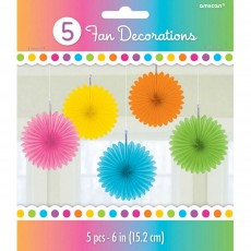 Multi Coloured Mini Fan Hanging Decorations 15cm Pack of 5