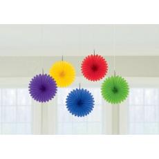 Rainbow Mini Fan Hanging Decorations 15cm Pack of 5