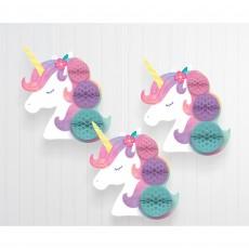 Magical Unicorn Party Decorations - Hanging Decorations Enchanted Unicorn Honeycomb