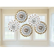 Chevron Design Mixed Metallic Printed Paper Fan Hanging Decorations