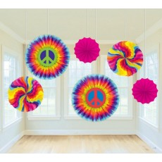 Feeling Groovy & 60's Paper Fans Hanging Decorations Pack of 6