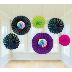 Disco & 70's Disco Fever Paper Fans Hanging Decorations Pack of 6