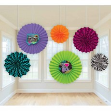 Totally 80's Paper Fans Hanging Decorations Pack of 6