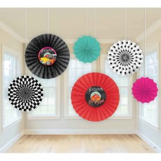 Rock n Roll Classic 50's Paper Fans Hanging Decorations Pack of 6