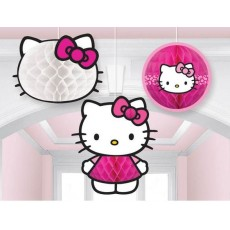 Hello Kitty Rainbow Honeycomb Hanging Decorations Pack of 3