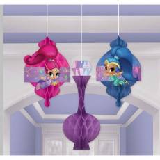 Shimmer & Shine Honeycomb Hanging Decorations Pack of 3