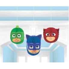 PJ Masks Honeycomb Hanging Decorations 18cm Pack of 3