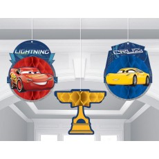 Disney Cars 3 Honeycomb Hanging Decorations Pack of 3