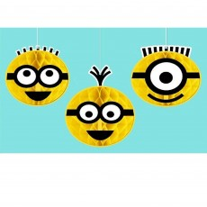 Minions Despicable Me Honeycomb Hanging Decorations Pack of 3