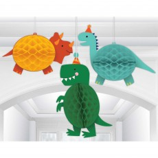 Dinosaur Party Decorations - Hanging Decorations Dino-Mite Honeycomb