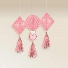 Bridal Shower Blush Wedding Honeycomb Hanging Decorations Pack of 3