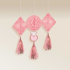 Bridal Shower Blush Wedding Honeycomb Hanging Decorations